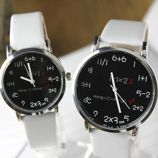 Fashion Big Dial Couple Leather Watch