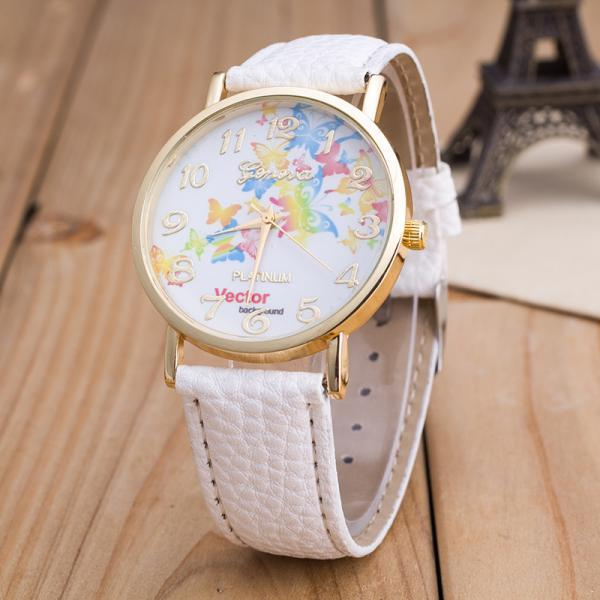 Fashion Flower Butterfly Print Watch