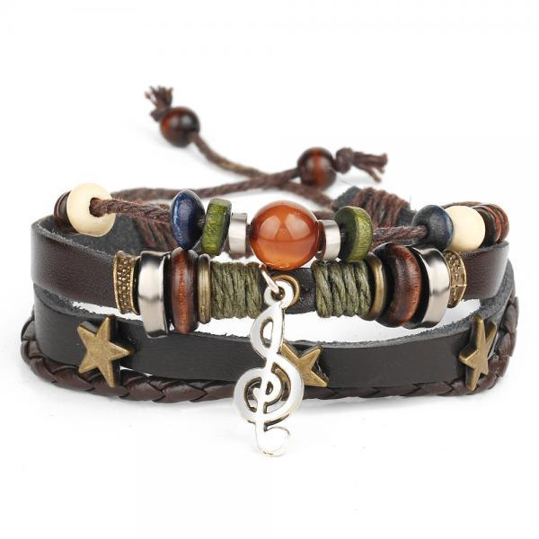 Star Musical Note Leather Woven Bracelet