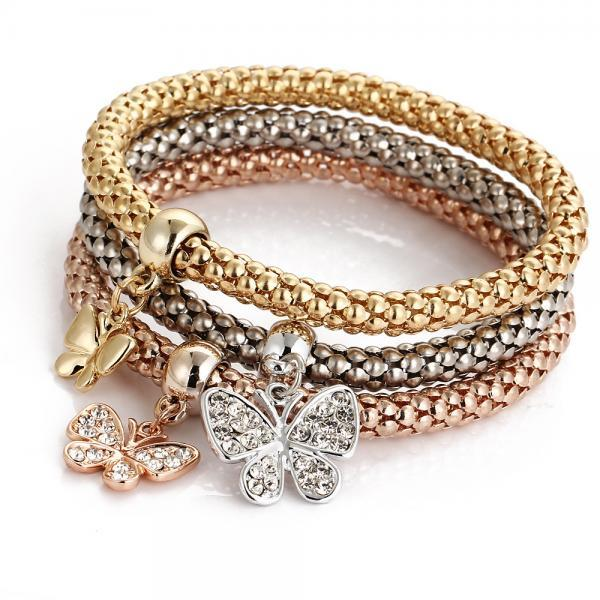 Crystal Butterfly Three Color Bounce Bracelet