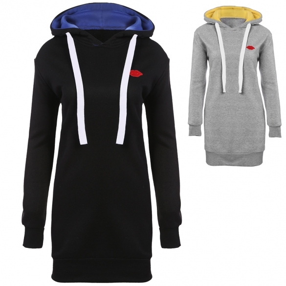 New Women Casual Hooded Long Sleeve Solid Loose Over Hip Hoodies