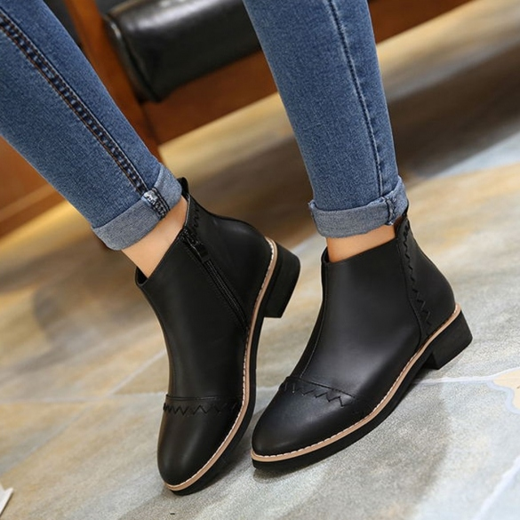 Fashion Winter Women Synthetic Leather Side Zip Ankle Boot Flat Heel Fleece Lined