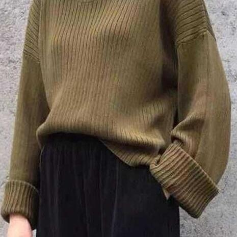 Ribbed Knit Crew Neck Long Flared Sleeves Sweater