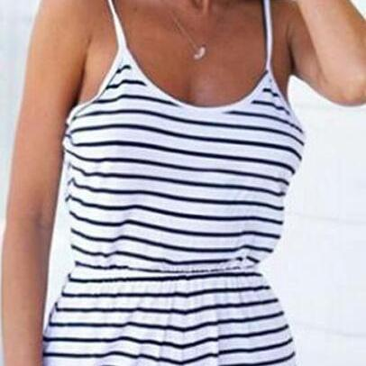 Spaghetti Strap Elastic Waist Backless Stripe Short Jumpsuit