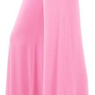 Fashion High Waist Pure Color Wide Leg Long Pants