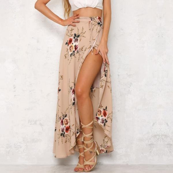 Fashion Bohemian Flower Print Split ends Flare Maxi Skirt