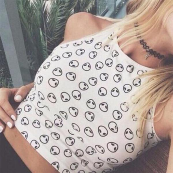 Sleeveless Round Collar Printed Sexy Cute Short Crop Tops